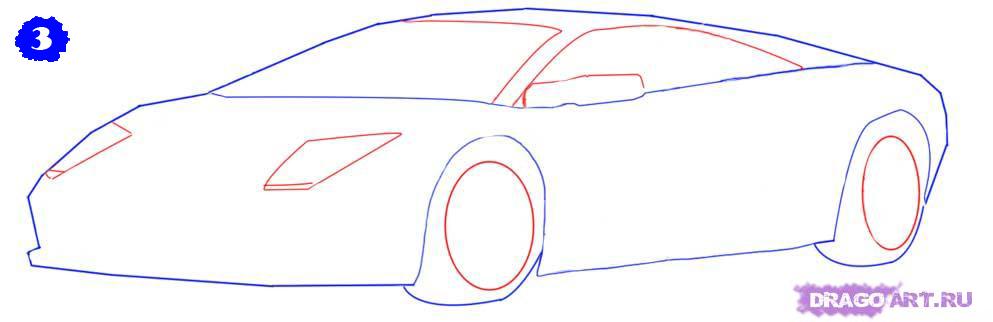 как нарисовать porsche 911 карандашом поэтапно