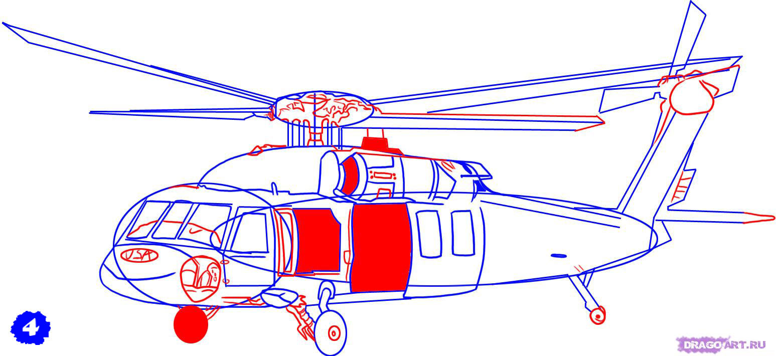 Как рисовать вертолеты карандашом