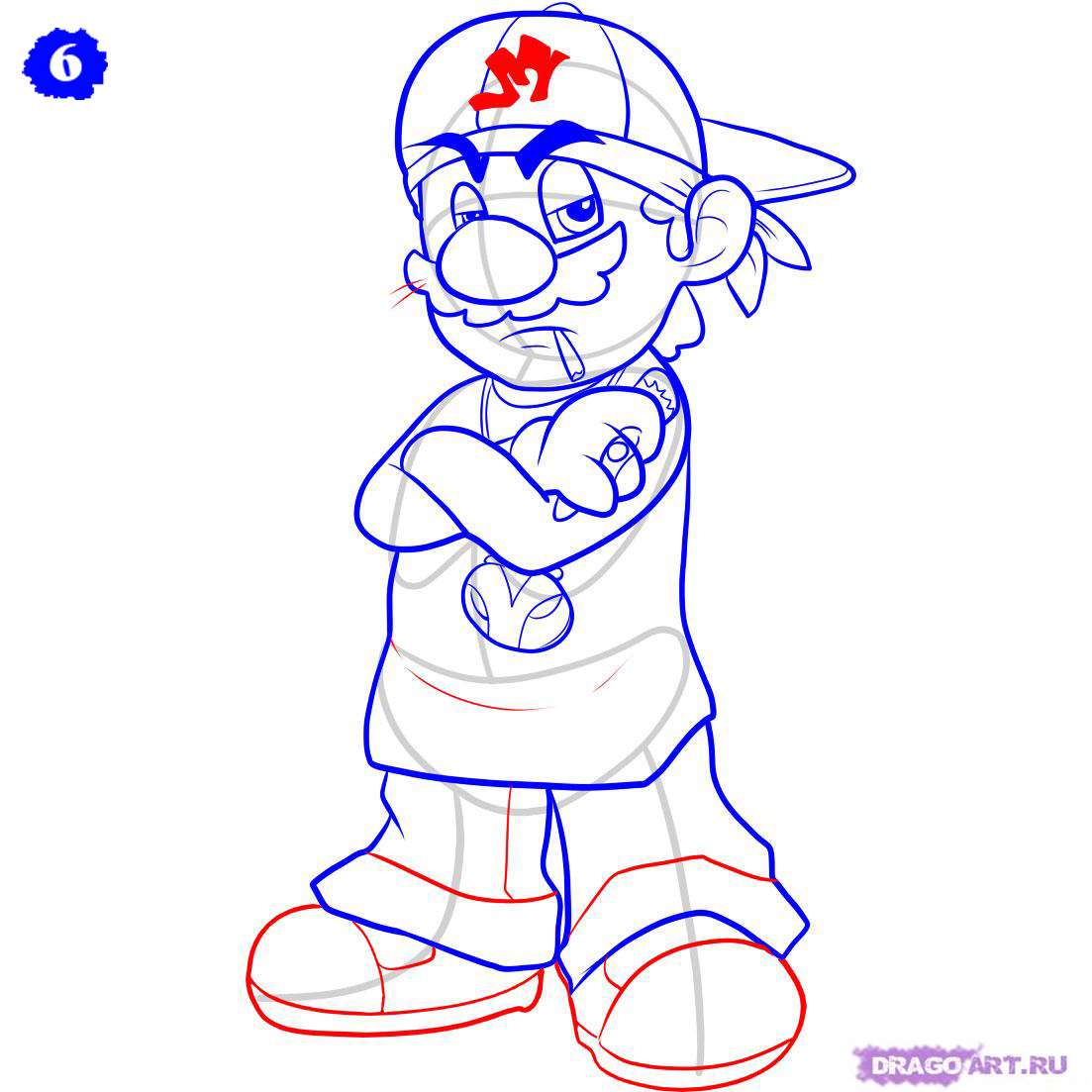 Step How Draw Gangster Mario Pictures