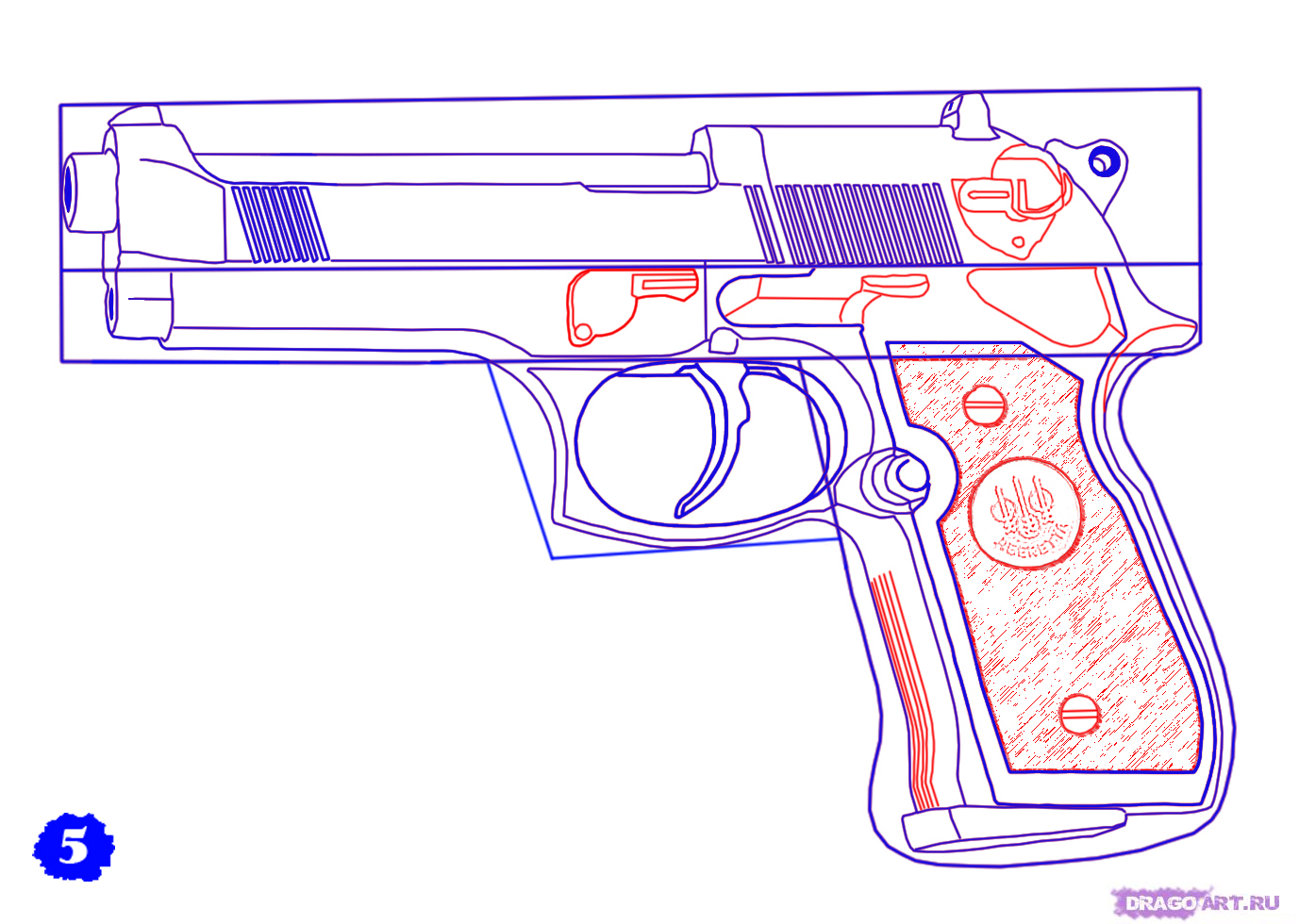 how to draw a revolver pistol step by step