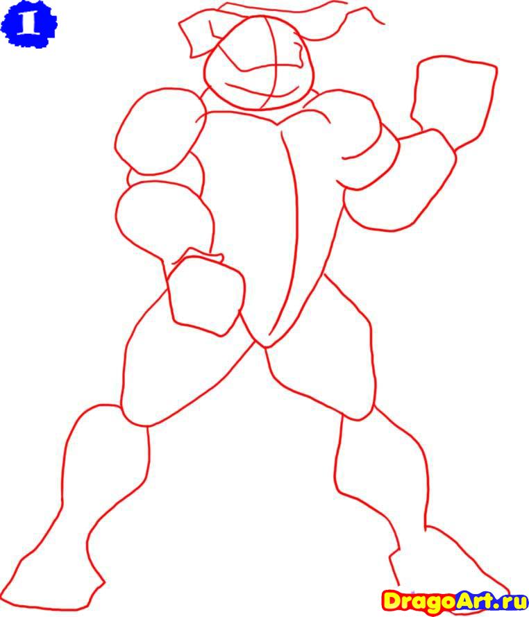 Как рисовать черепашки ниндзя карандашом поэтапно