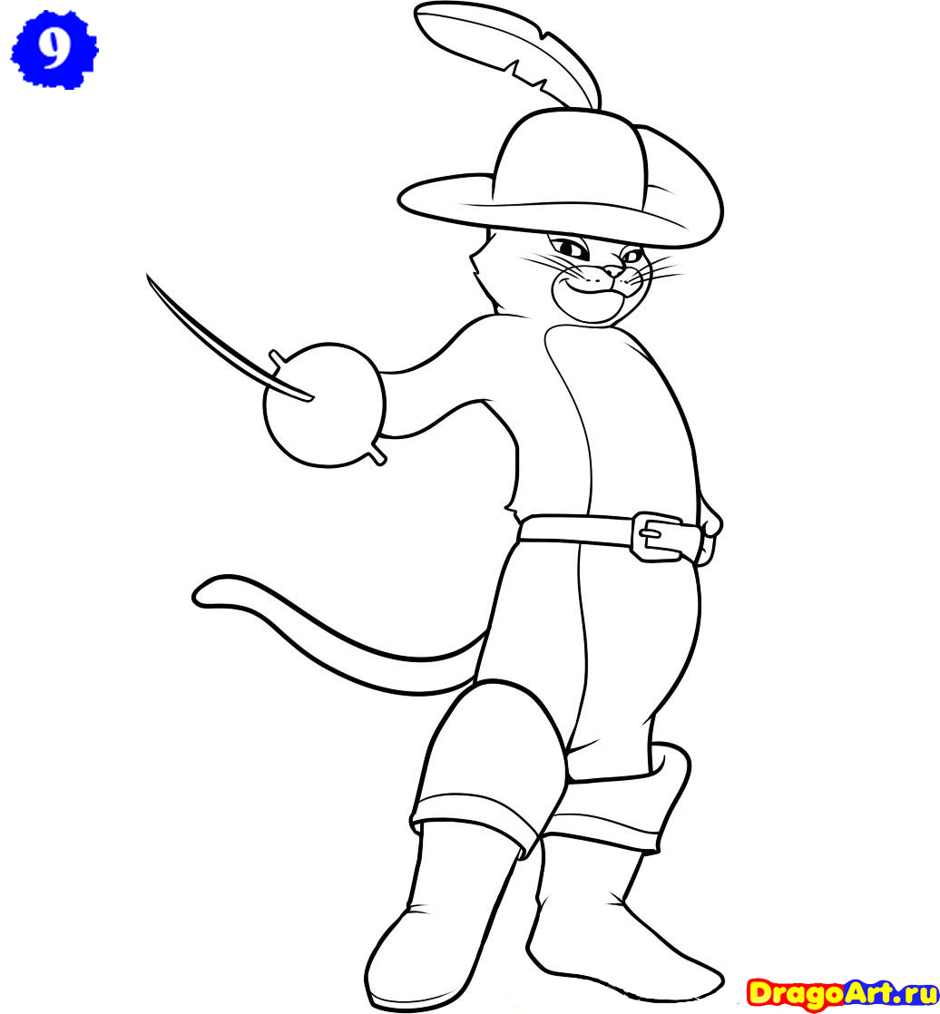 Картинка карандашом кот в сапогах