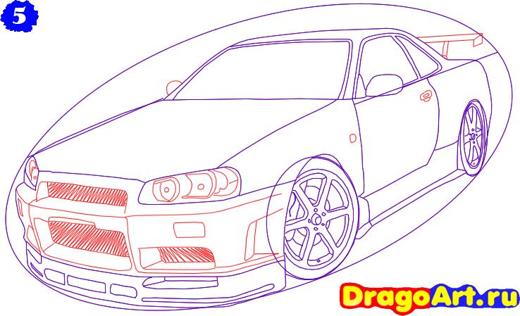 Как нарисовать Nissan Skyline